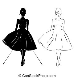 piste, femme, silhouette