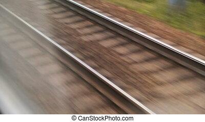 piste, ferroviaire, closeup