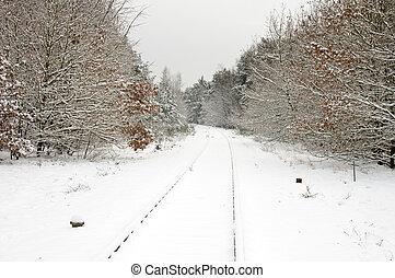 piste, ferroviaire, neige
