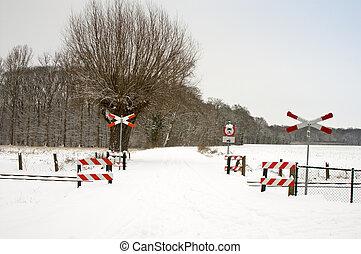 piste, ferroviaire, neigeux, signes
