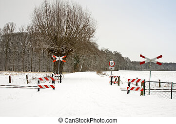piste, ferroviaire, signes, neigeux