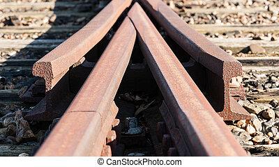 piste, ferroviaire,  swith, vieux,  détail