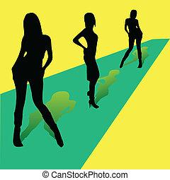 piste, filles, trois