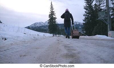 piste, hiver, arrière, mouvement, bagage, promenades, bas, ...