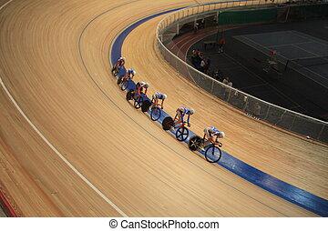 piste, intérieur, cyclisme, course