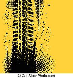 piste, jaune, pneu, fond