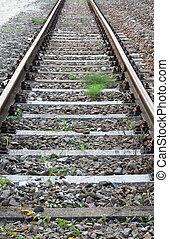 piste, long, train, abandonnés, rails