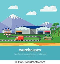 piste, montagnes, entrepôts, camion, banner.