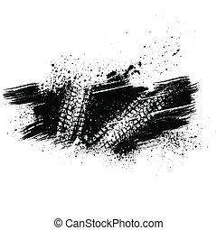 piste, noir, pneu, fond