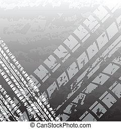 piste, noir, pneu