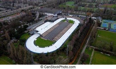 piste, patinoire, glace, loisir, amsterdam, overview., piste, concurrence, aérien, pays-bas, 400, activity., mètre, patinage