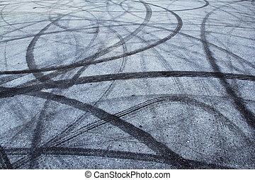 piste, pneu, asphalte