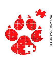 piste, puzzle, vecteur, animal