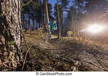 piste, route, par, mountainbiker