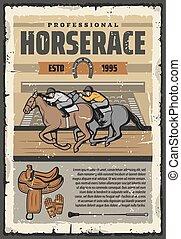 piste, sport, courses chevaux, cavaliers