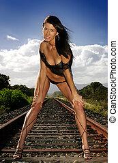 piste, train, lingerie