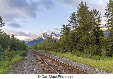 piste treno, e, il, roccioso, mountains-, canmore, alberta