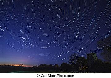 pistes, astromomie, -, étoile