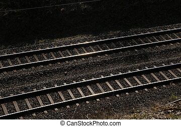 pistes, au-dessus, sleepers., coup, rails, ferroviaire