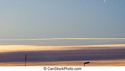 pistes, avion, ciel