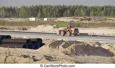 pistes, bulldozer, road., asphalte, minsk, construction,...