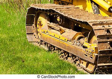 pistes, chenille, boueux, bulldozer.