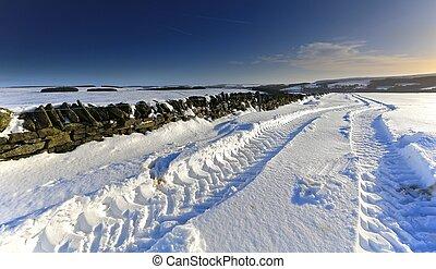 pistes, chenille, neige