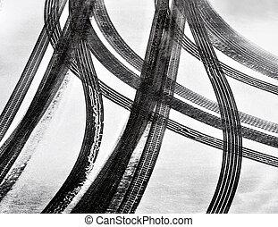 pistes, de, voiture, pneus