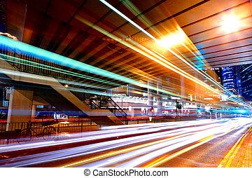 pistes lumière, dans, mega, ville