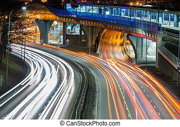 pistes, lumière, krakow, rue, nuit