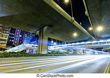 pistes lumière, sur, autoroute