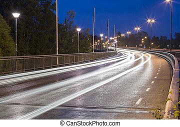 pistes lumière, sur, pont