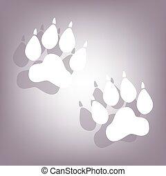 pistes, ombre, animal, icône