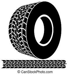 pistes, pas, pneu