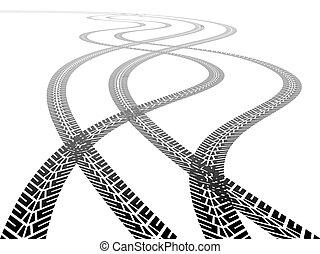 pistes, perspective, pneu