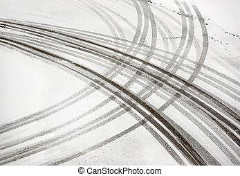 pistes, pneu, neige