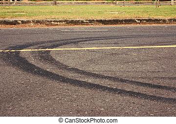 pistes, pneu, route