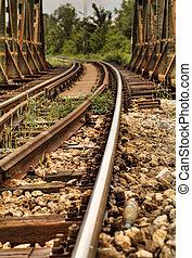 pistes, pont, ferroviaire, sur