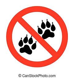 pistes, signe., animal, non