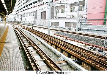 pistes, station, ferroviaire, japonaise