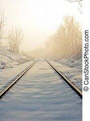 pistes,  train, hiver