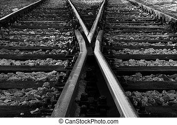 pistes, traversé, ferroviaire