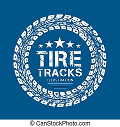 pistes, vecteur, pneu