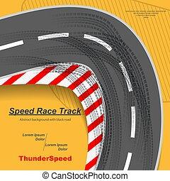 pistes, vitesse, route, pneu