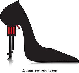pistol., 女性の 靴, ベクトル