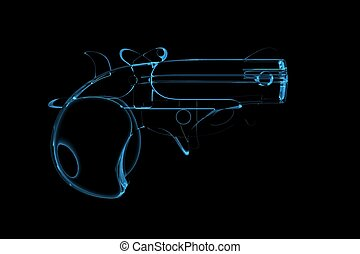 Pistol 3D rendered xray blue transparent