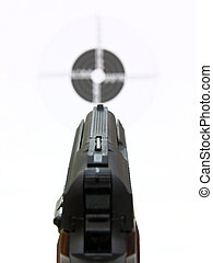 Pistol a target - Kind on a target for shooting through a...