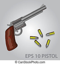 pistol and bullets eps10