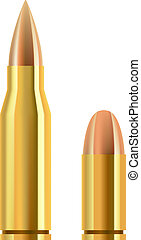 Pistol and rifle bullets isolated on gray background.