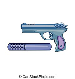 Pistol and silencer icon, cartoon style